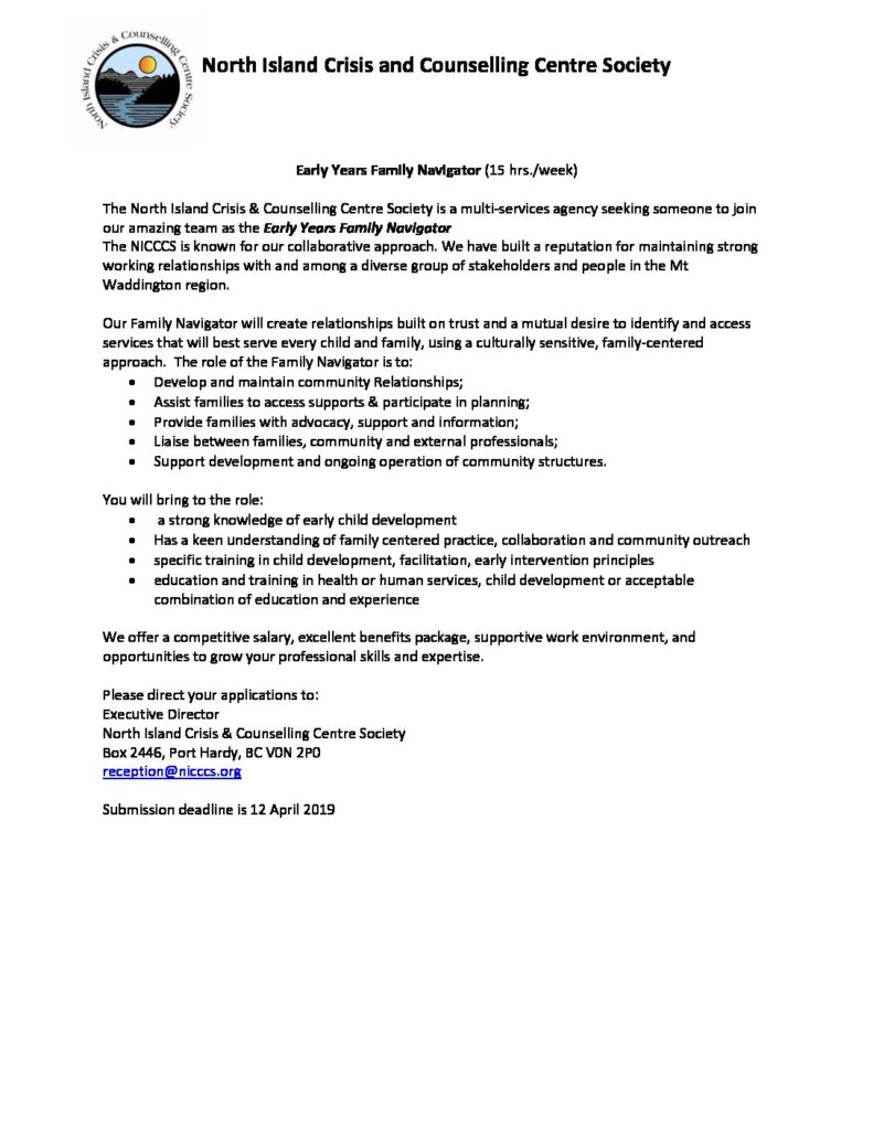 Early Years Family Navigator | North Island Crisis and Counselling